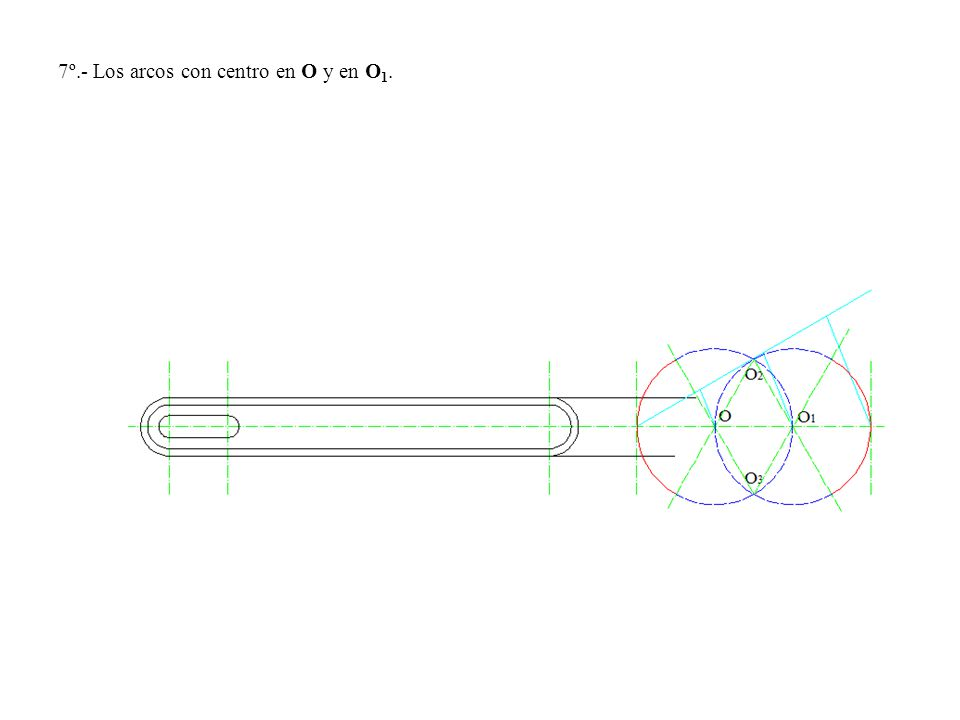 7º.- Los arcos con centro en O y en O1.