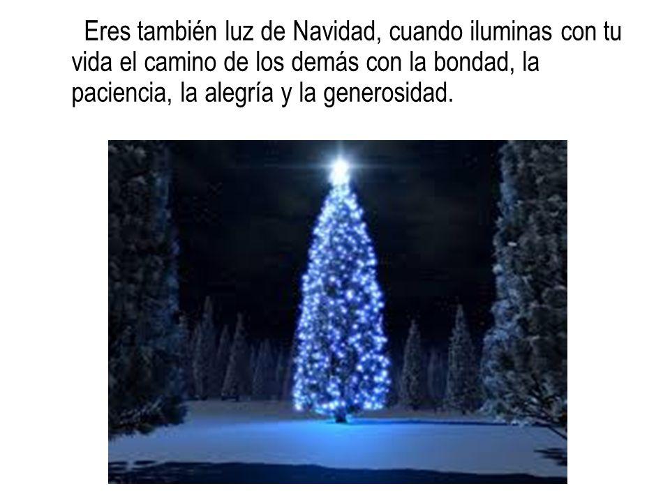 Eres también luz de Navidad, cuando iluminas con tu vida el camino de los demás con la bondad, la paciencia, la alegría y la generosidad.