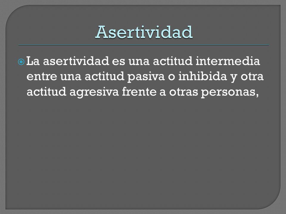 Asertividad La asertividad es una actitud intermedia entre una actitud pasiva o inhibida y otra actitud agresiva frente a otras personas,
