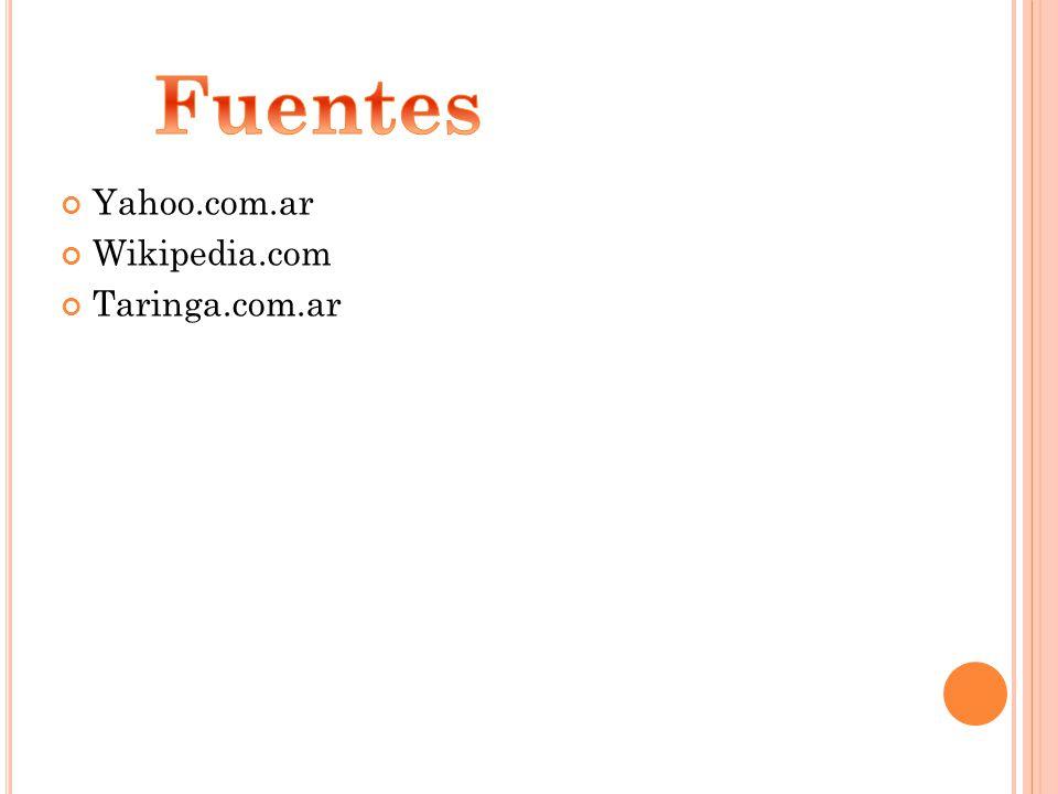 Fuentes Yahoo.com.ar Wikipedia.com Taringa.com.ar