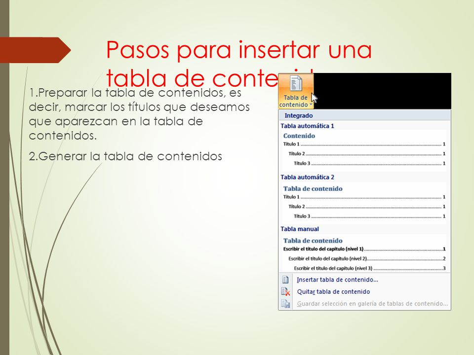 Pasos para insertar una tabla de contenido