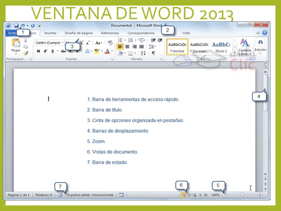 VENTANA DE WORD 2013