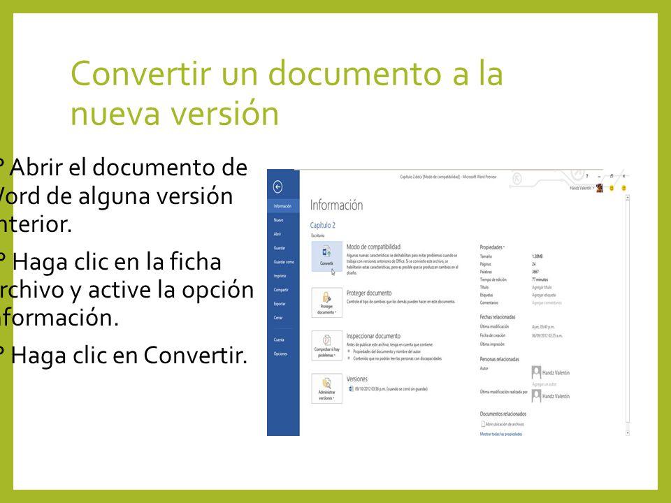 Convertir un documento a la nueva versión