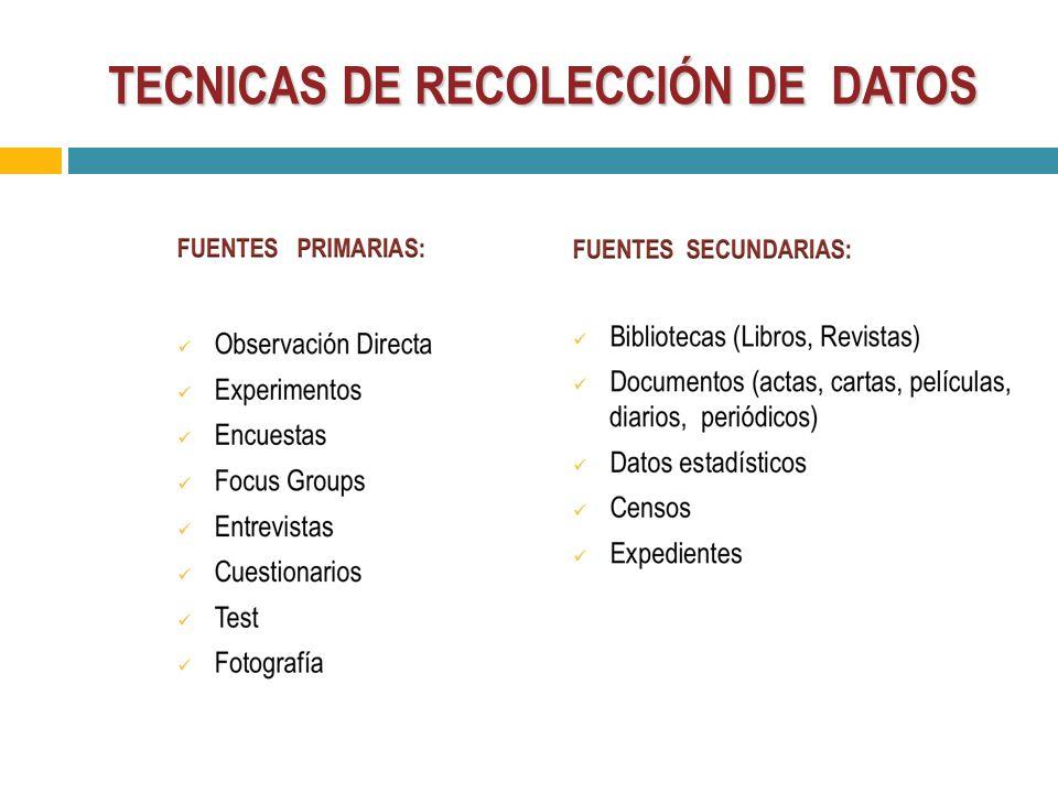 Recolecci n de datos ppt video online descargar for Tecnicas basicas de cocina pdf