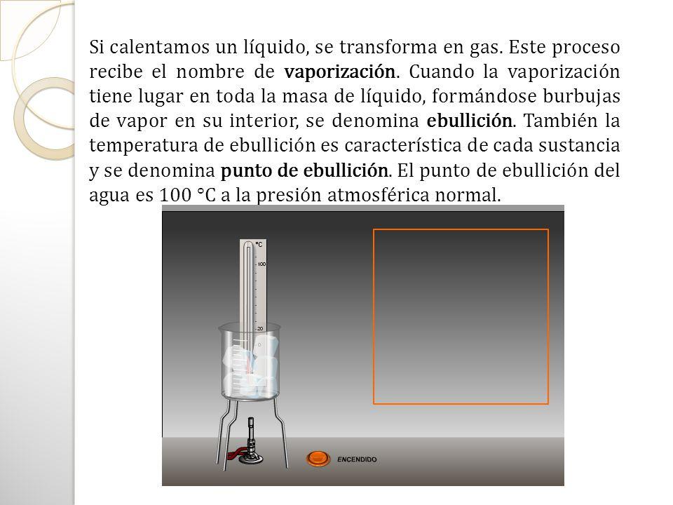 Si calentamos un líquido, se transforma en gas
