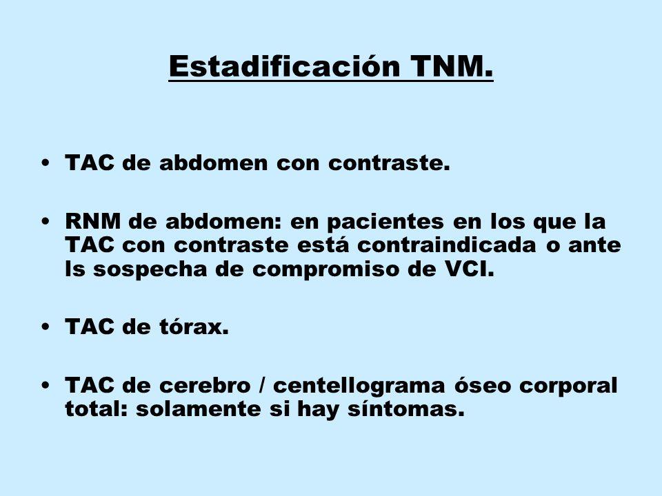 Estadificación TNM. TAC de abdomen con contraste.