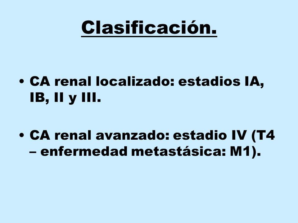 Clasificación. CA renal localizado: estadios IA, IB, II y III.