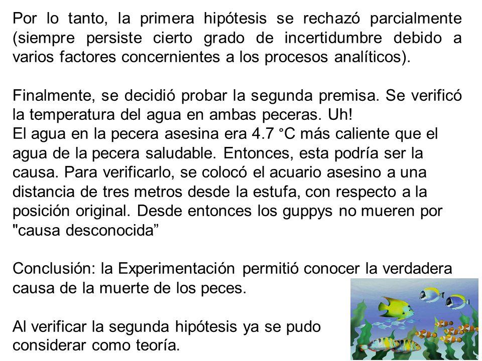 Por lo tanto, la primera hipótesis se rechazó parcialmente (siempre persiste cierto grado de incertidumbre debido a varios factores concernientes a los procesos analíticos).