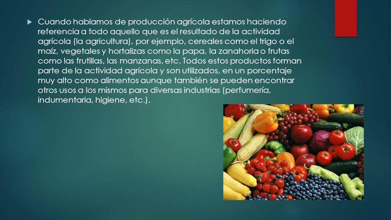 Cuando hablamos de producción agrícola estamos haciendo referencia a todo aquello que es el resultado de la actividad agrícola (la agricultura), por ejemplo, cereales como el trigo o el maíz, vegetales y hortalizas como la papa, la zanahoria o frutas como las frutillas, las manzanas, etc.