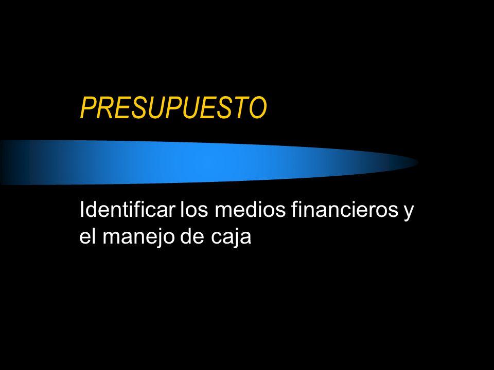 Identificar los medios financieros y el manejo de caja