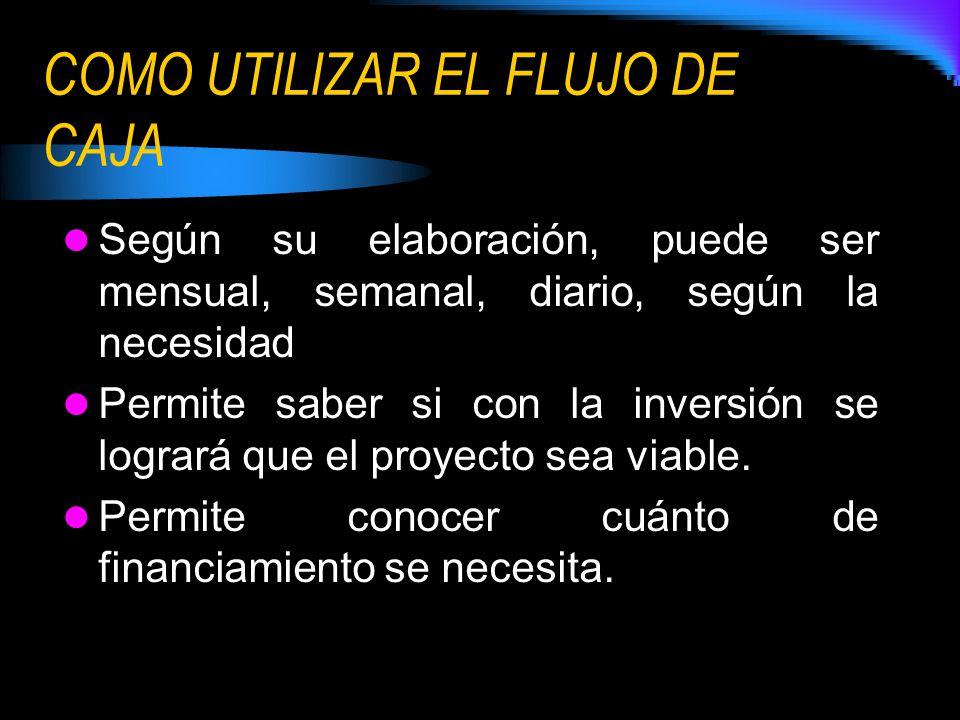 COMO UTILIZAR EL FLUJO DE CAJA