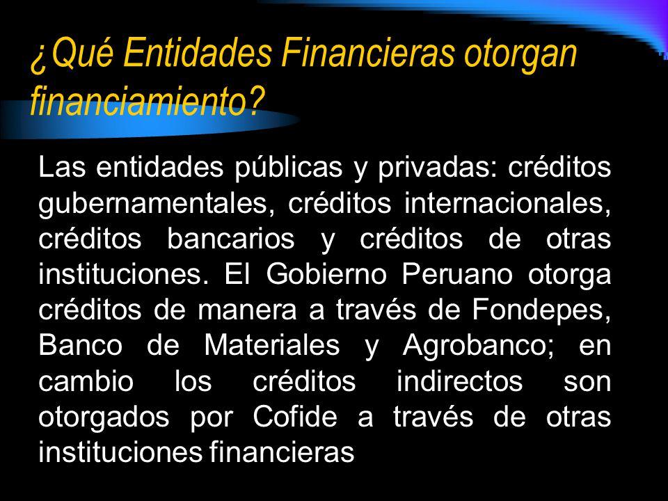¿Qué Entidades Financieras otorgan financiamiento