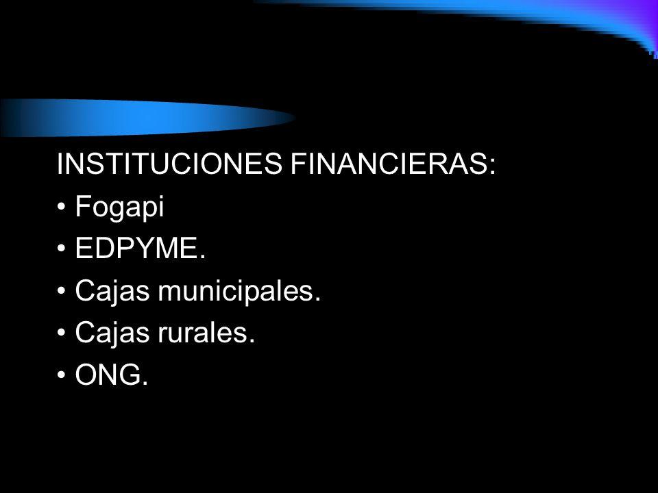 INSTITUCIONES FINANCIERAS: • Fogapi • EDPYME. • Cajas municipales