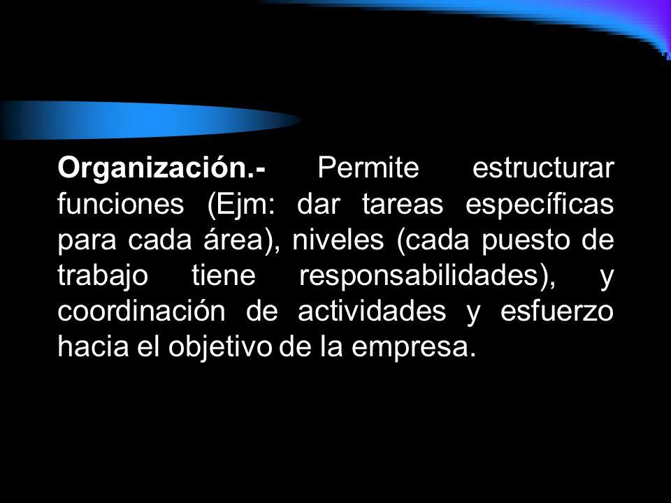 Organización.- Permite estructurar funciones (Ejm: dar tareas específicas para cada área), niveles (cada puesto de trabajo tiene responsabilidades), y coordinación de actividades y esfuerzo hacia el objetivo de la empresa.