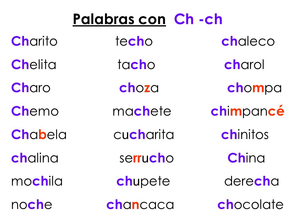 Palabras con Ch -ch Charito techo chaleco Chelita tacho charol