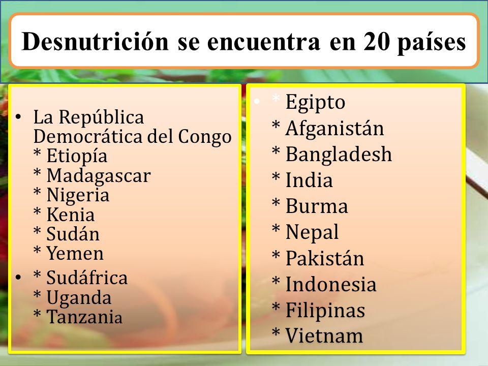 Desnutrición se encuentra en 20 países