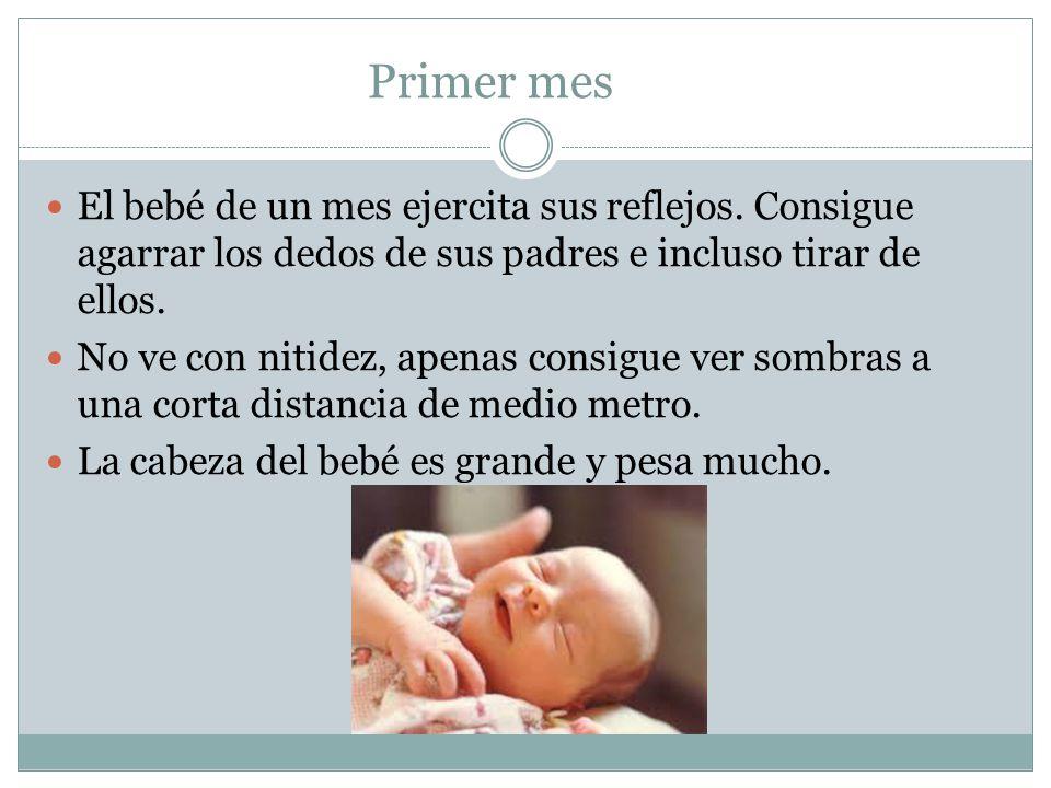 Primer mes El bebé de un mes ejercita sus reflejos. Consigue agarrar los dedos de sus padres e incluso tirar de ellos.