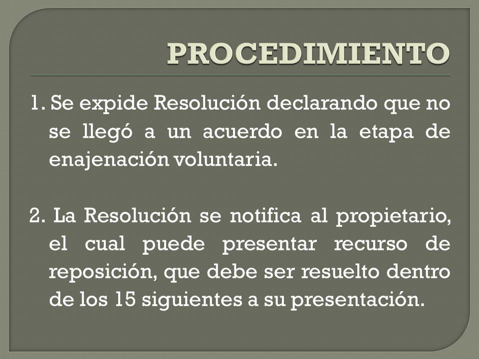PROCEDIMIENTO 1. Se expide Resolución declarando que no se llegó a un acuerdo en la etapa de enajenación voluntaria.