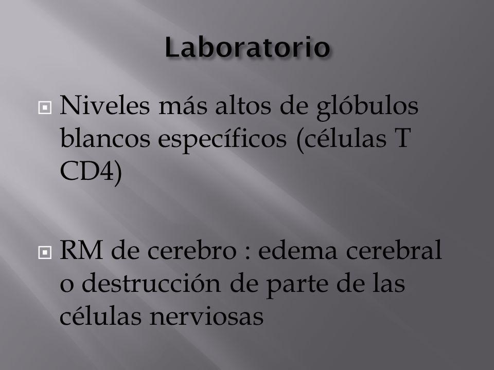 Laboratorio Niveles más altos de glóbulos blancos específicos (células T CD4)