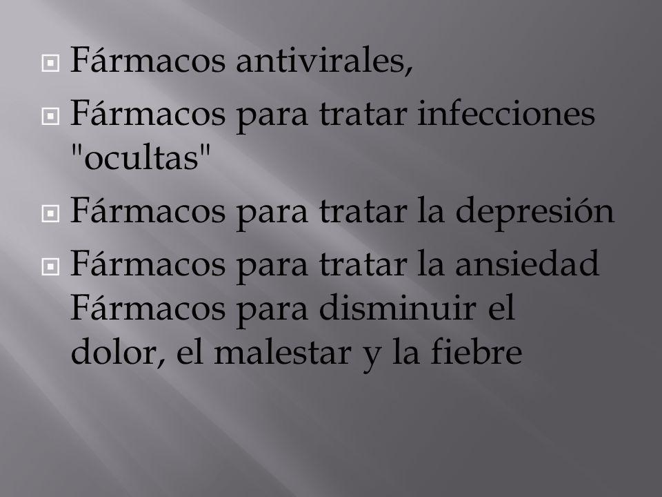 Fármacos antivirales, Fármacos para tratar infecciones ocultas Fármacos para tratar la depresión.