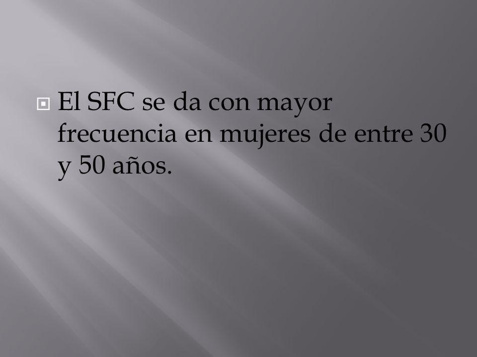 El SFC se da con mayor frecuencia en mujeres de entre 30 y 50 años.