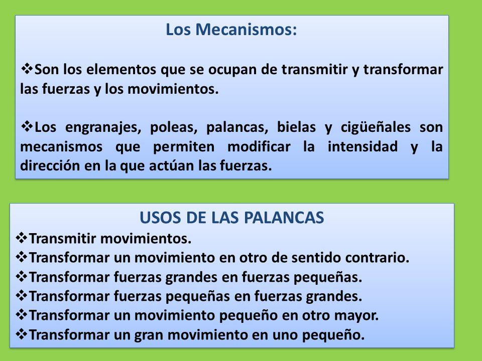 Los Mecanismos: USOS DE LAS PALANCAS