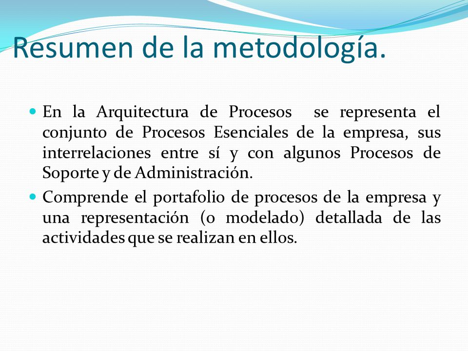 Resumen de la metodología.