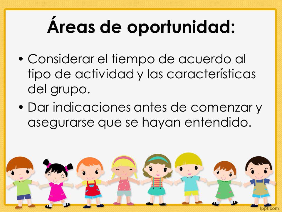 Áreas de oportunidad: Considerar el tiempo de acuerdo al tipo de actividad y las características del grupo.