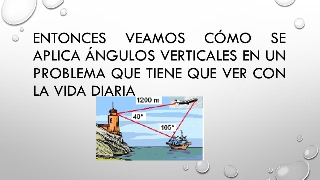 Entonces veamos cómo se aplica ángulos verticales en un problema que tiene que ver con la vida diaria