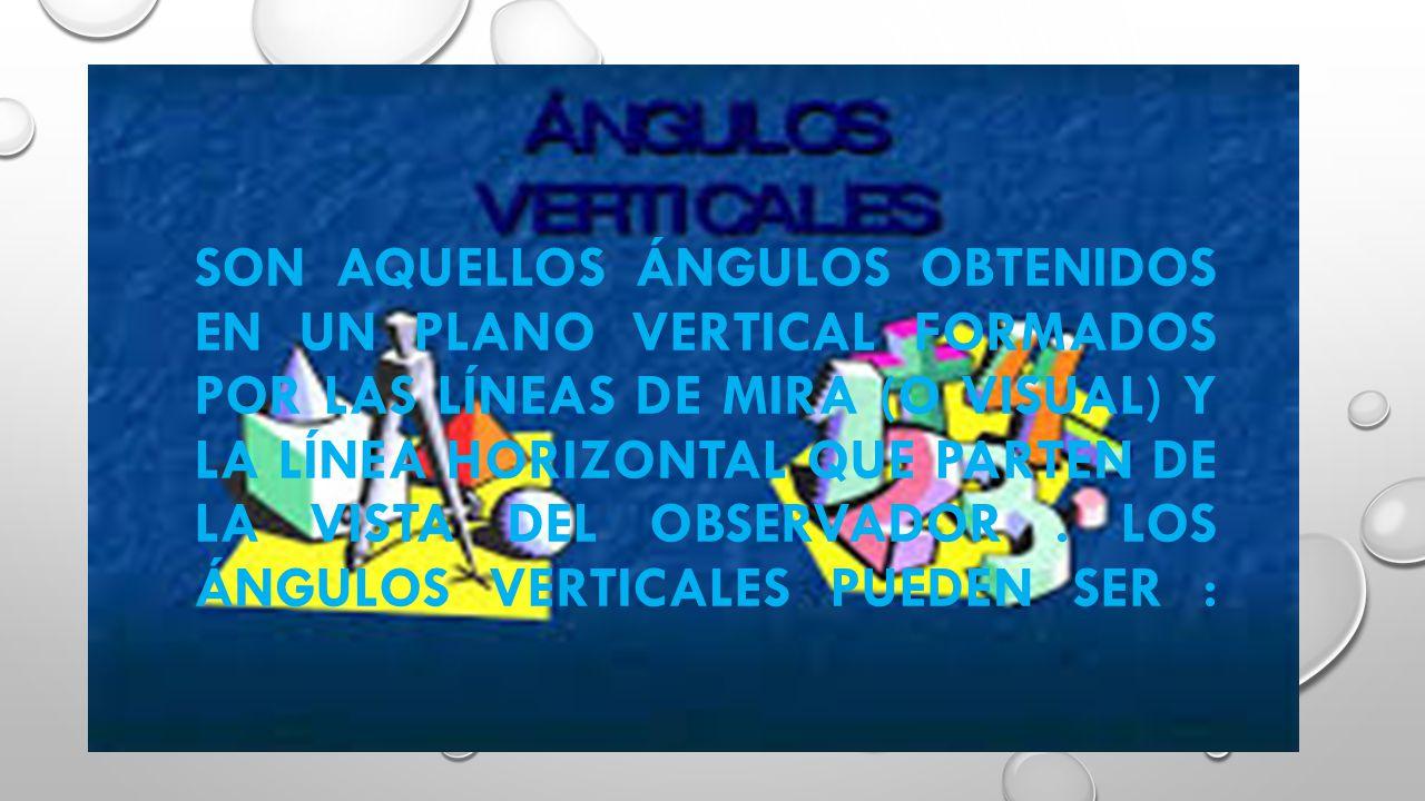 Son aquellos ángulos obtenidos en un plano vertical formados por las líneas de mira (o visual) y la línea horizontal que parten de la vista del observador .