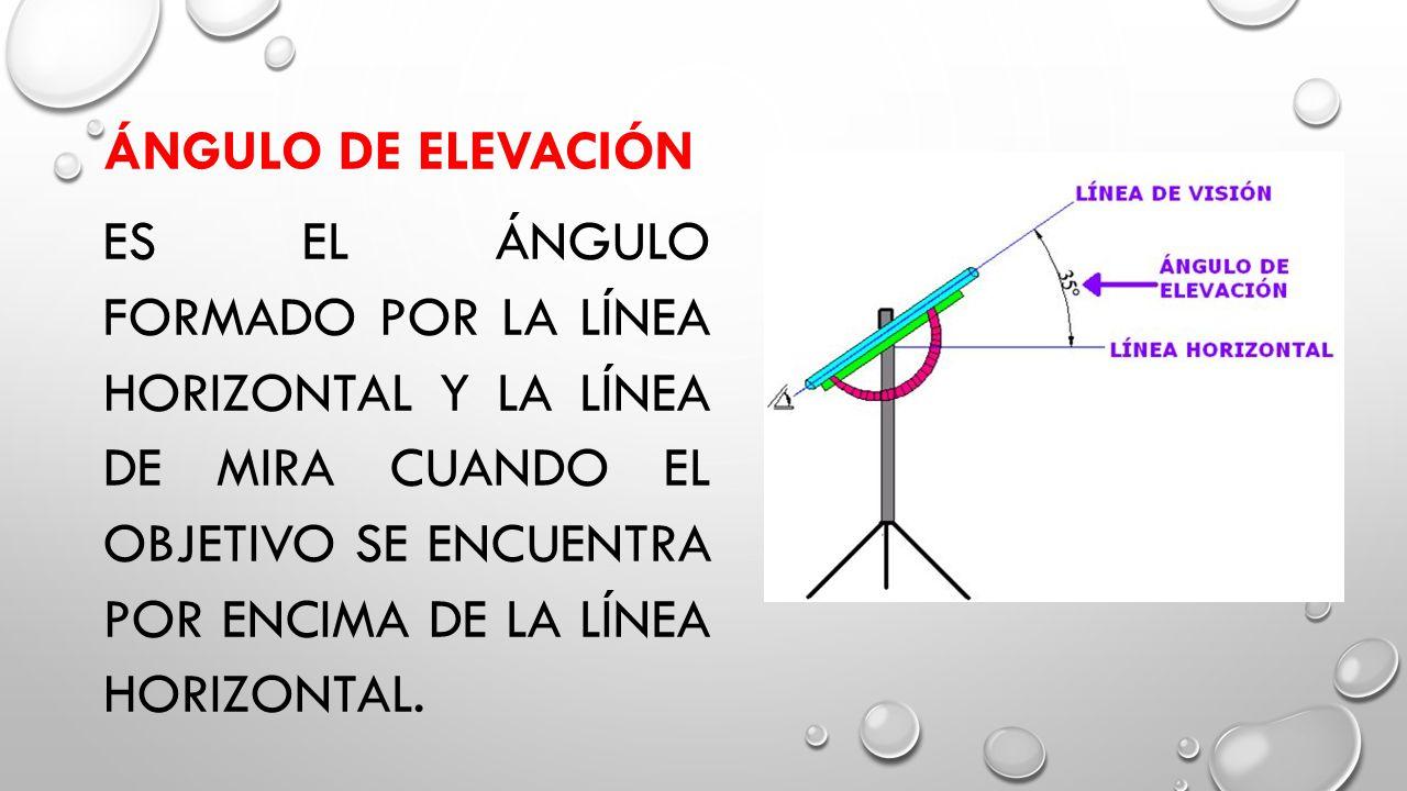 Ángulo de Elevación Es el ángulo formado por la línea horizontal y la línea de mira cuando el objetivo se encuentra por encima de la línea horizontal.