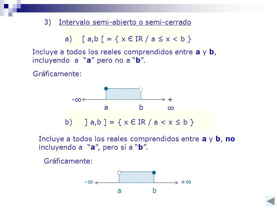 3) Intervalo semi-abierto o semi-cerrado