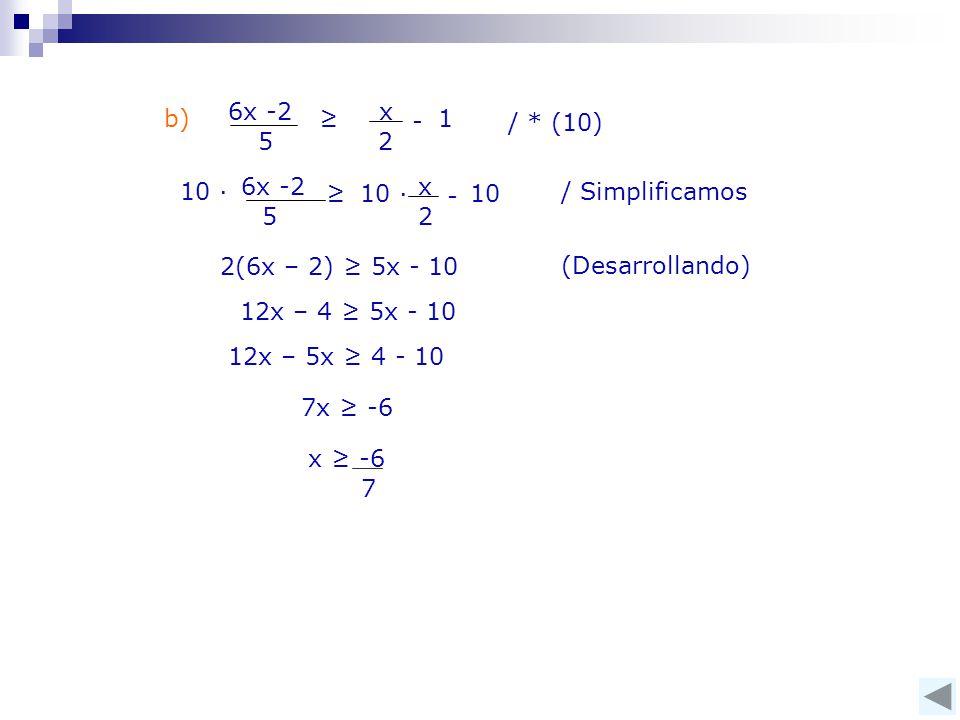 x 2. 6x -2. 5. ≥ 1. - b) / * (10) 10 ∙ 6x -2. 5. x. 2. - 10 ∙ 10. ≥ / Simplificamos.