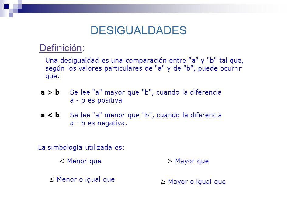 DESIGUALDADES Definición: La simbología utilizada es: