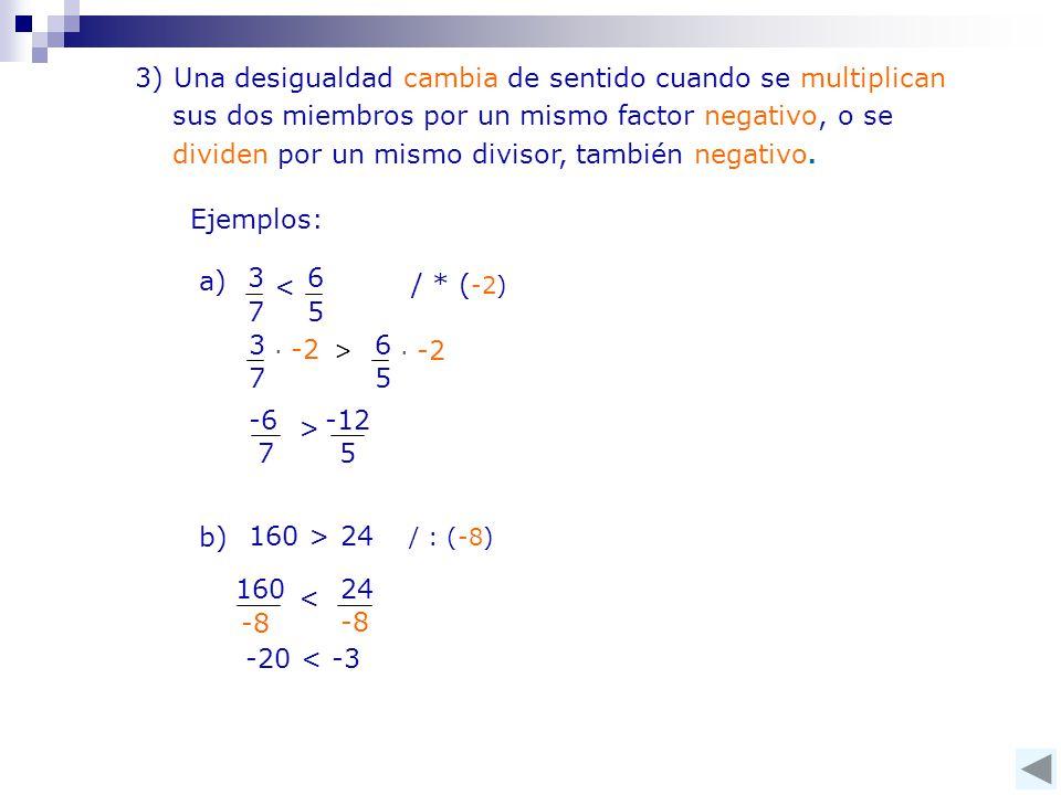 3) Una desigualdad cambia de sentido cuando se multiplican