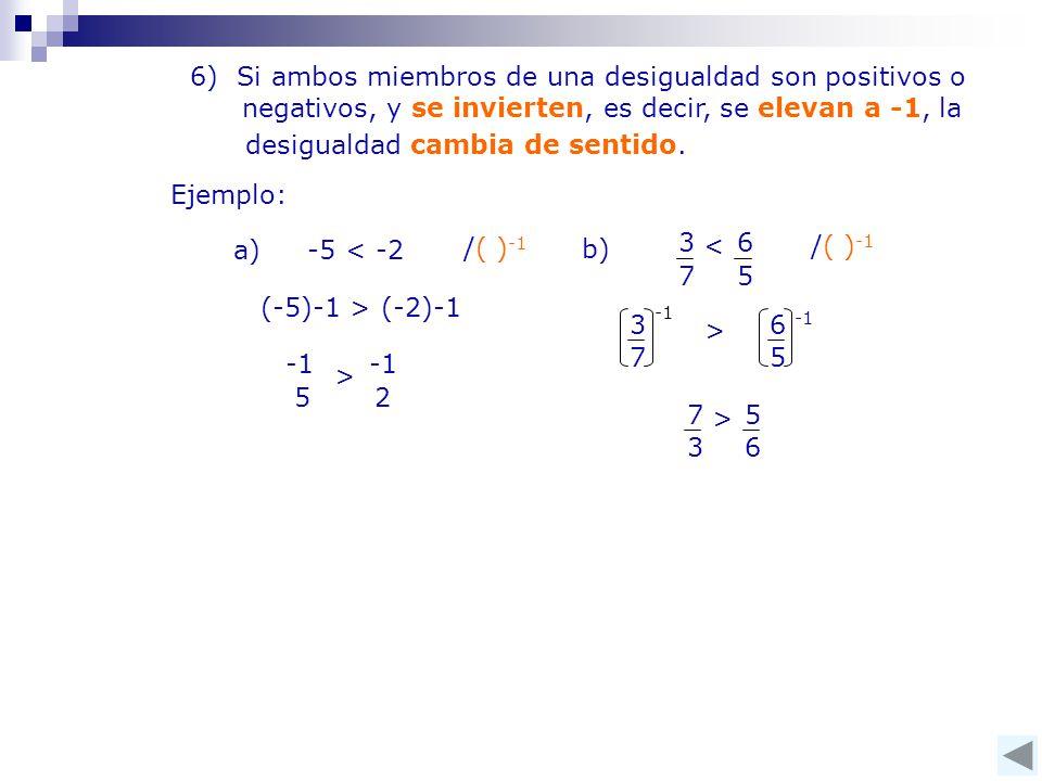 6) Si ambos miembros de una desigualdad son positivos o