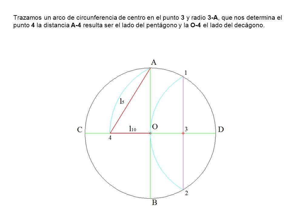 Trazamos un arco de circunferencia de centro en el punto 3 y radio 3-A, que nos determina el punto 4 la distancia A-4 resulta ser el lado del pentágono y la O-4 el lado del decágono.