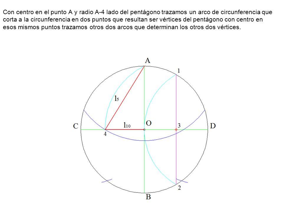 Con centro en el punto A y radio A-4 lado del pentágono trazamos un arco de circunferencia que corta a la circunferencia en dos puntos que resultan ser vértices del pentágono con centro en esos mismos puntos trazamos otros dos arcos que determinan los otros dos vértices.