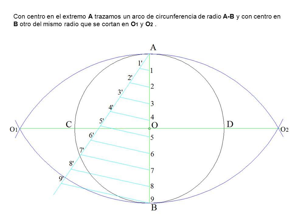 Con centro en el extremo A trazamos un arco de circunferencia de radio A-B y con centro en B otro del mismo radio que se cortan en O1 y O2 .