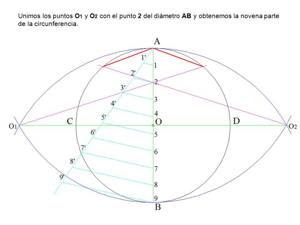 Unimos los puntos O1 y O2 con el punto 2 del diámetro AB y obtenemos la novena parte de la circunferencia.