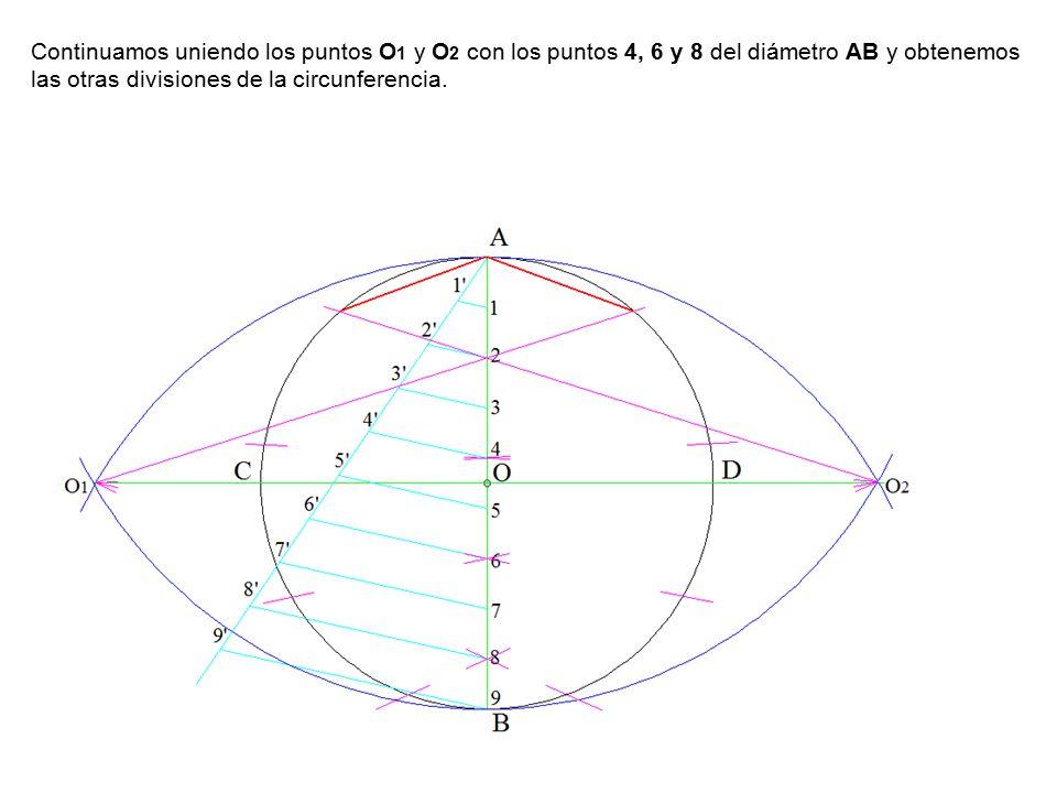 Continuamos uniendo los puntos O1 y O2 con los puntos 4, 6 y 8 del diámetro AB y obtenemos las otras divisiones de la circunferencia.