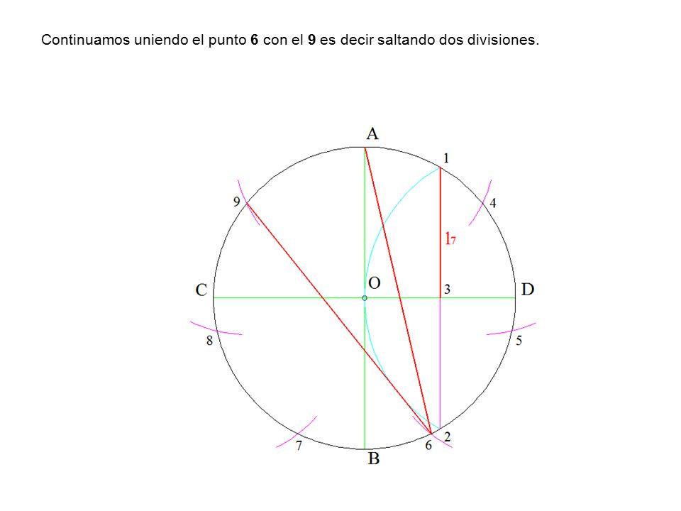 Continuamos uniendo el punto 6 con el 9 es decir saltando dos divisiones.