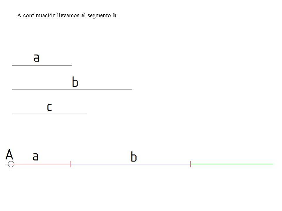 A continuación llevamos el segmento b.