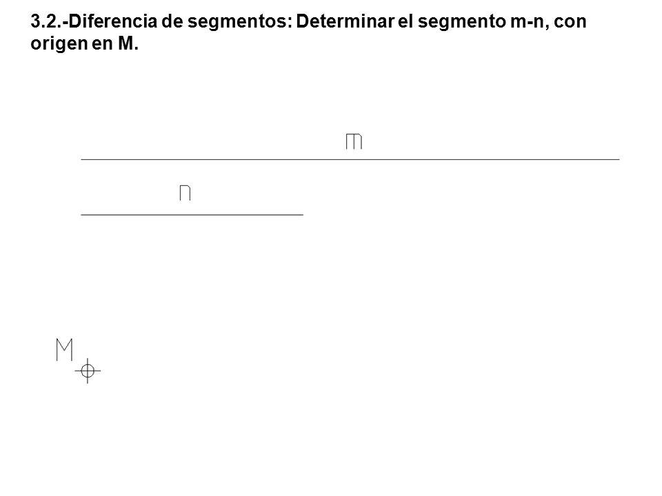 3.2.-Diferencia de segmentos: Determinar el segmento m-n, con origen en M.