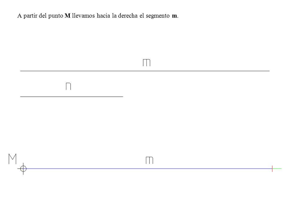 A partir del punto M llevamos hacia la derecha el segmento m.