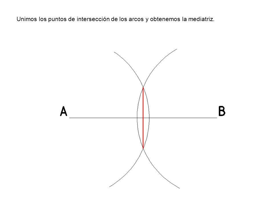 Unimos los puntos de intersección de los arcos y obtenemos la mediatriz.