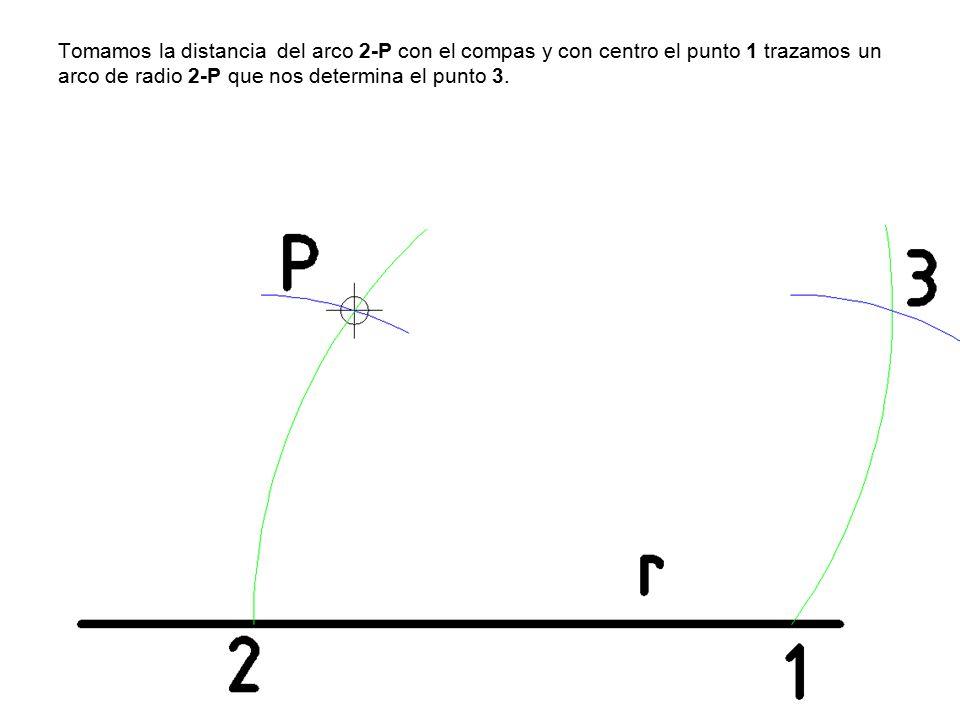 Tomamos la distancia del arco 2-P con el compas y con centro el punto 1 trazamos un arco de radio 2-P que nos determina el punto 3.