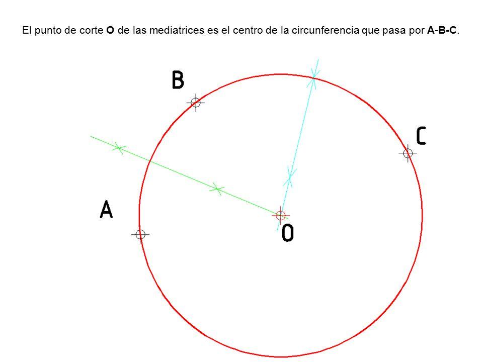 El punto de corte O de las mediatrices es el centro de la circunferencia que pasa por A-B-C.