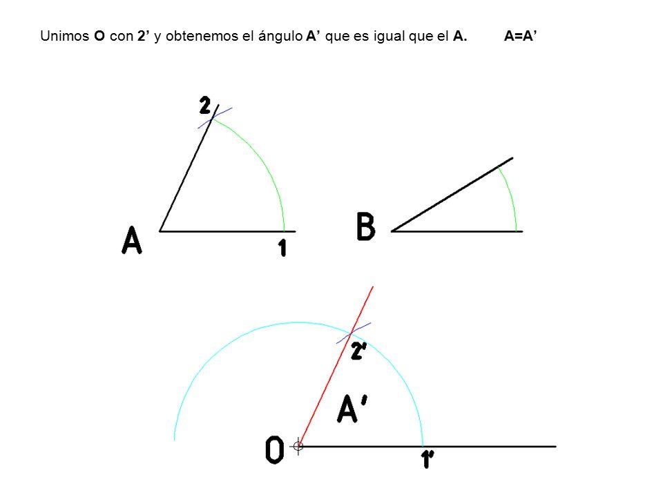 Unimos O con 2' y obtenemos el ángulo A' que es igual que el A. A=A'