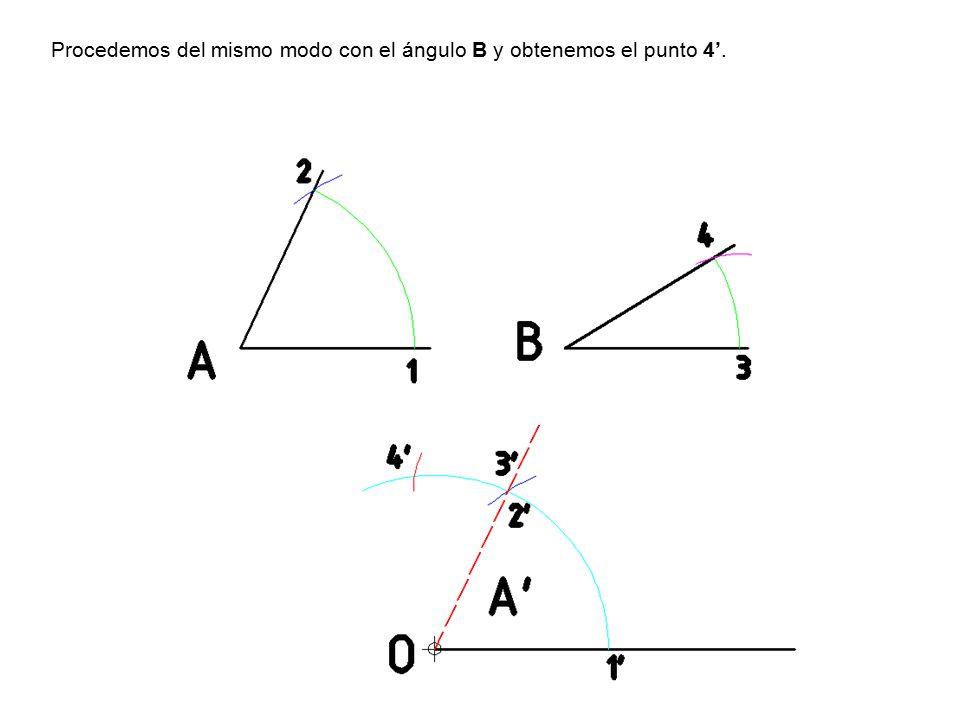 Procedemos del mismo modo con el ángulo B y obtenemos el punto 4'.